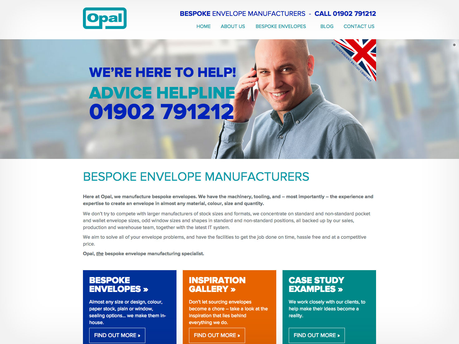 Website design Worcestershire - Opal Envelopes