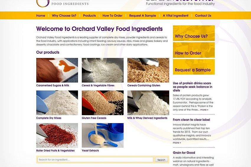Website design Worcestershire - Orchard Valley Food Ingredients
