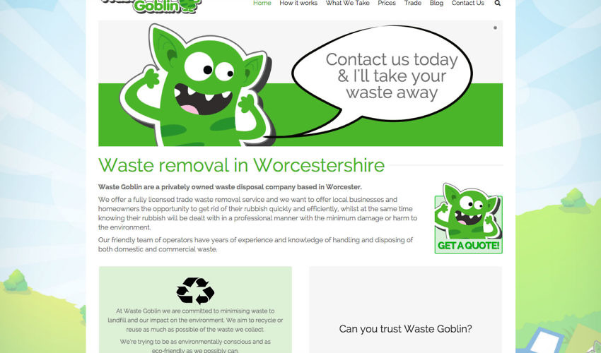 Website design Worcestershire - Waste Goblin