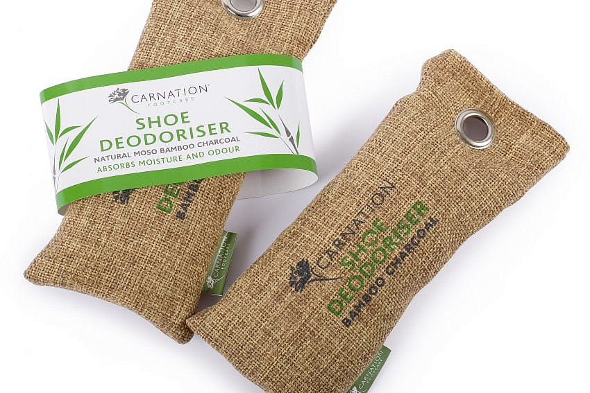 Carnation Footcare Shoe Deodoriser Bamboo Charcoal Packaging