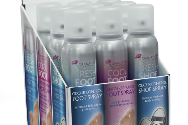 Carnation Foot Spray 3 Can Display Box Packaging Design Thumbnail